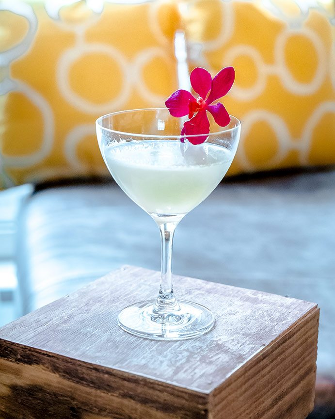 Daiquiri cocktail with flower on small wooden block