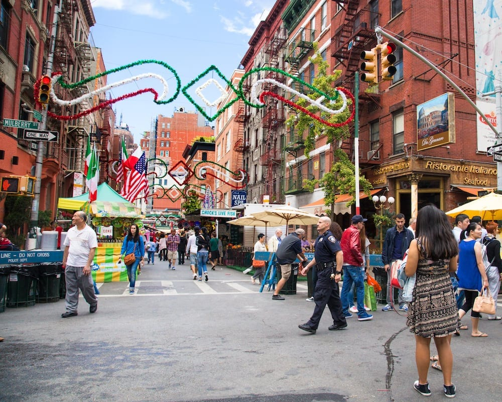Little Italy street decorated for Sn Gennaro festival in New York