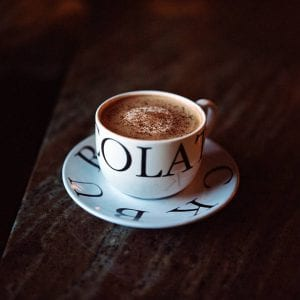 small cup with hot chocolate