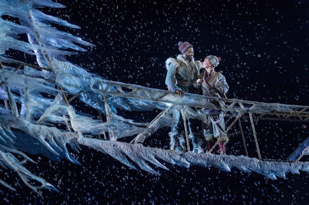 Frozen Broadway's ice bridge with Anna and Kristoff. Via @frozenbroadway