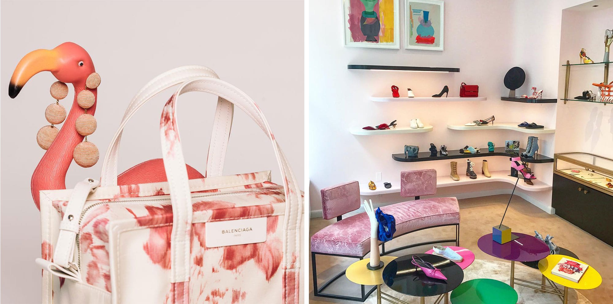Novelty bag, plastic flamingo and store with shoes and small tables
