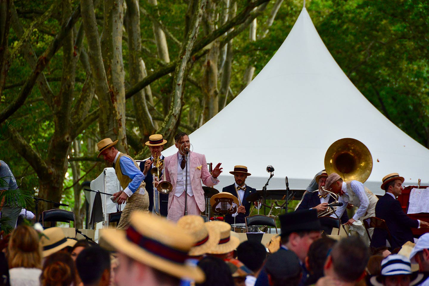 Band playing outdoors at Jazz Age Lawn Party