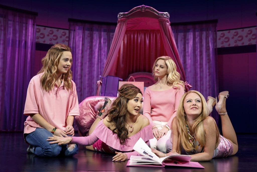 Women actors on stage at Mean Girls play on Broadway