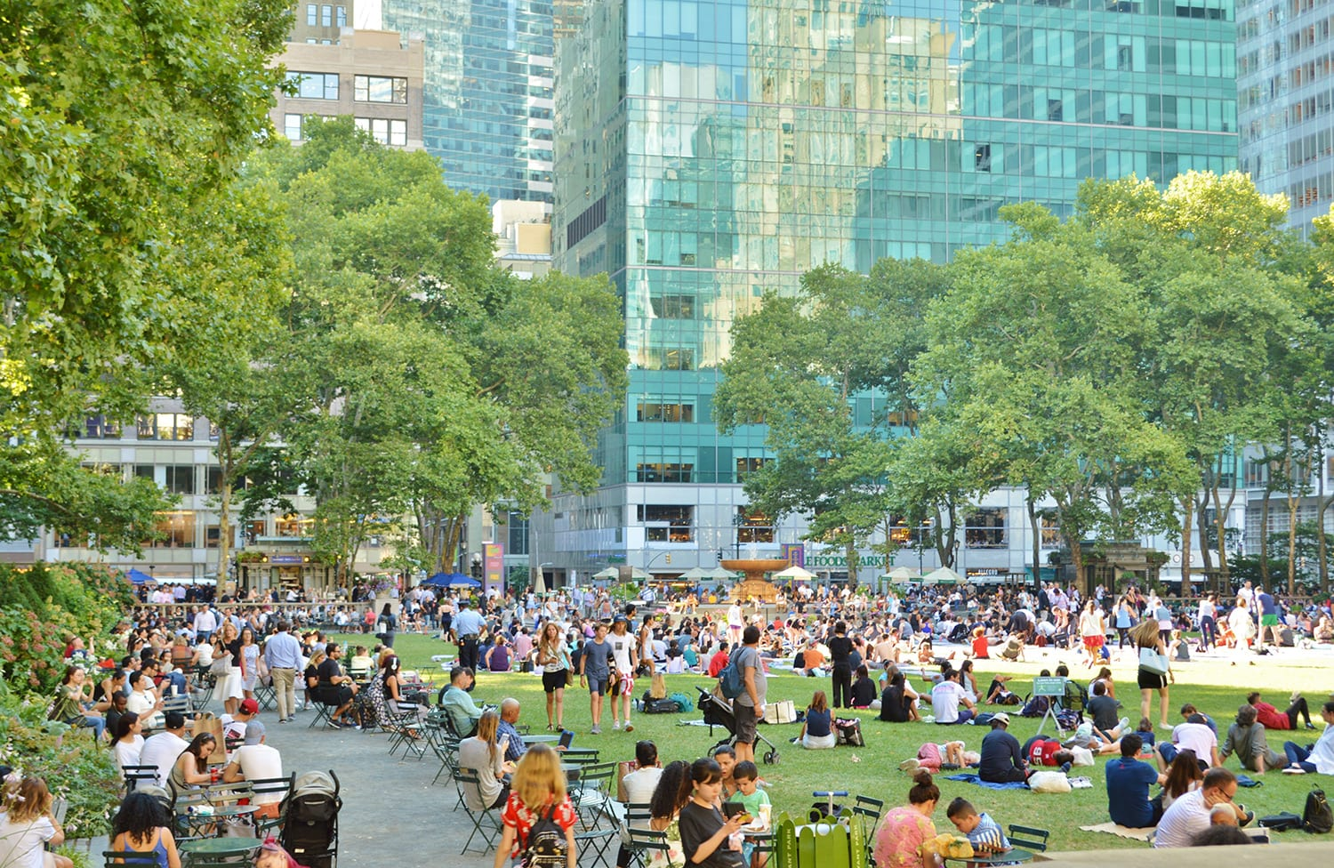 People sitting on lawn chairs at Bryant Park