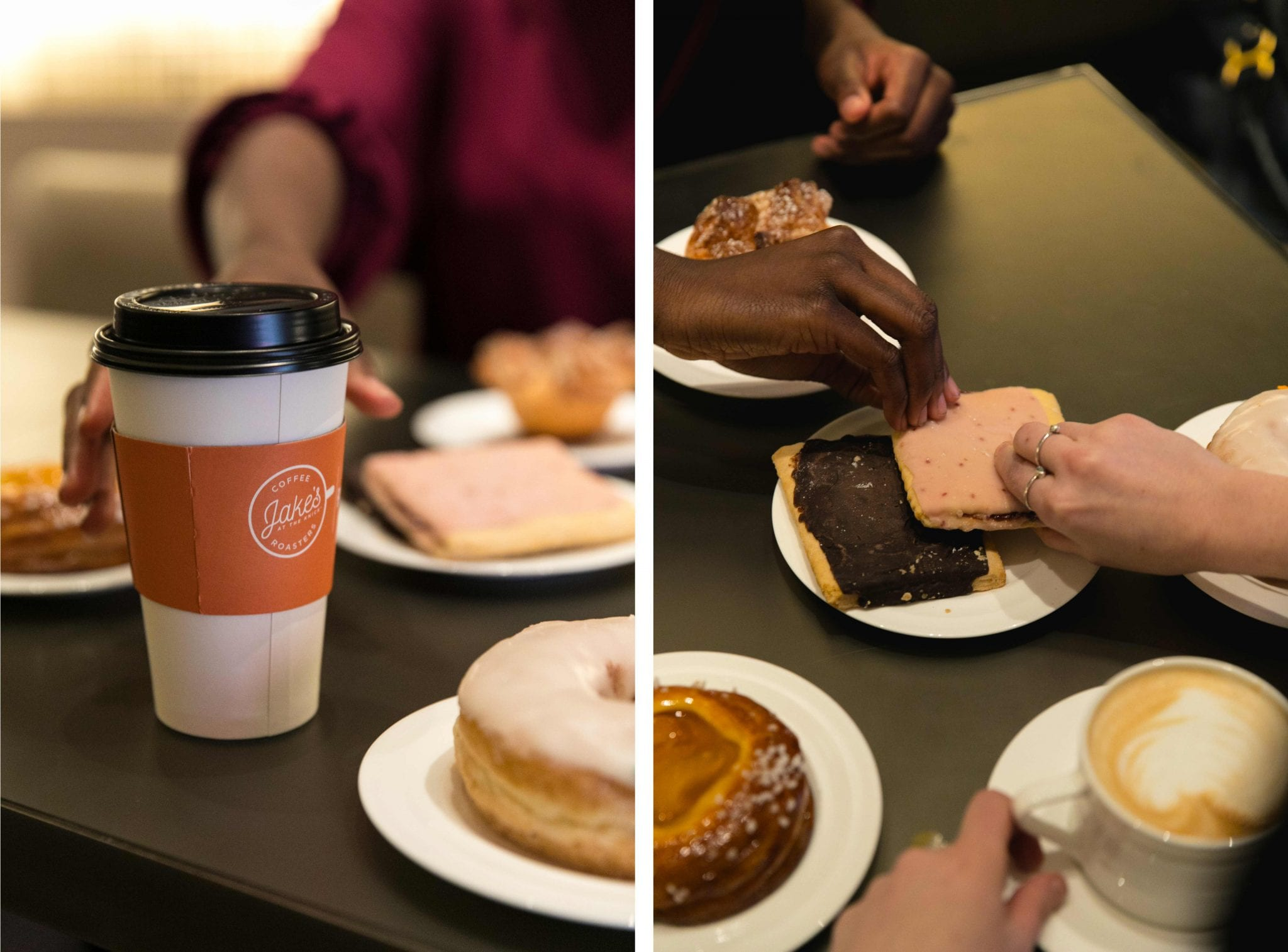 Jake's coffe cup and people sharing various pastries
