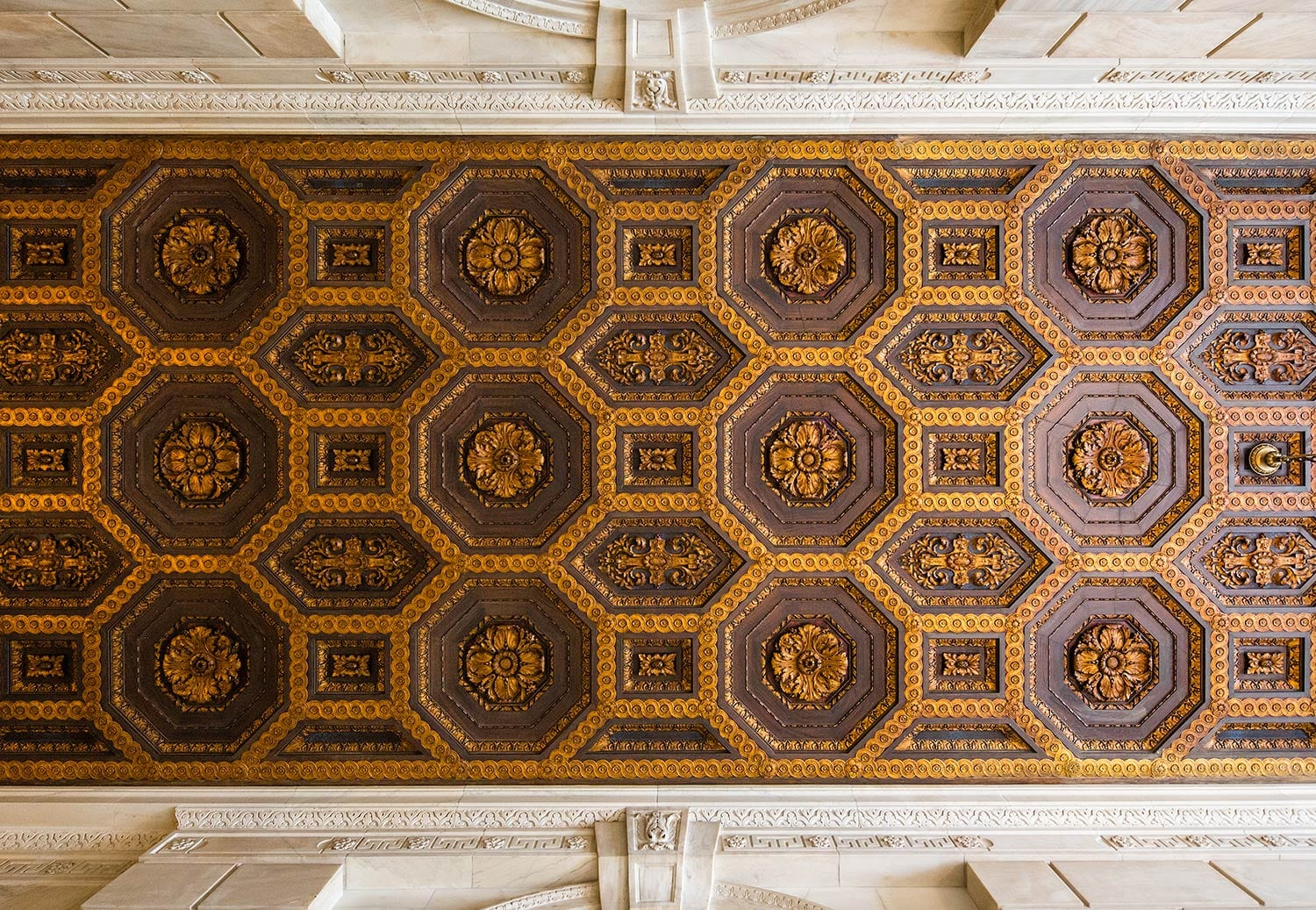 ornate ceiling at New York Public Library