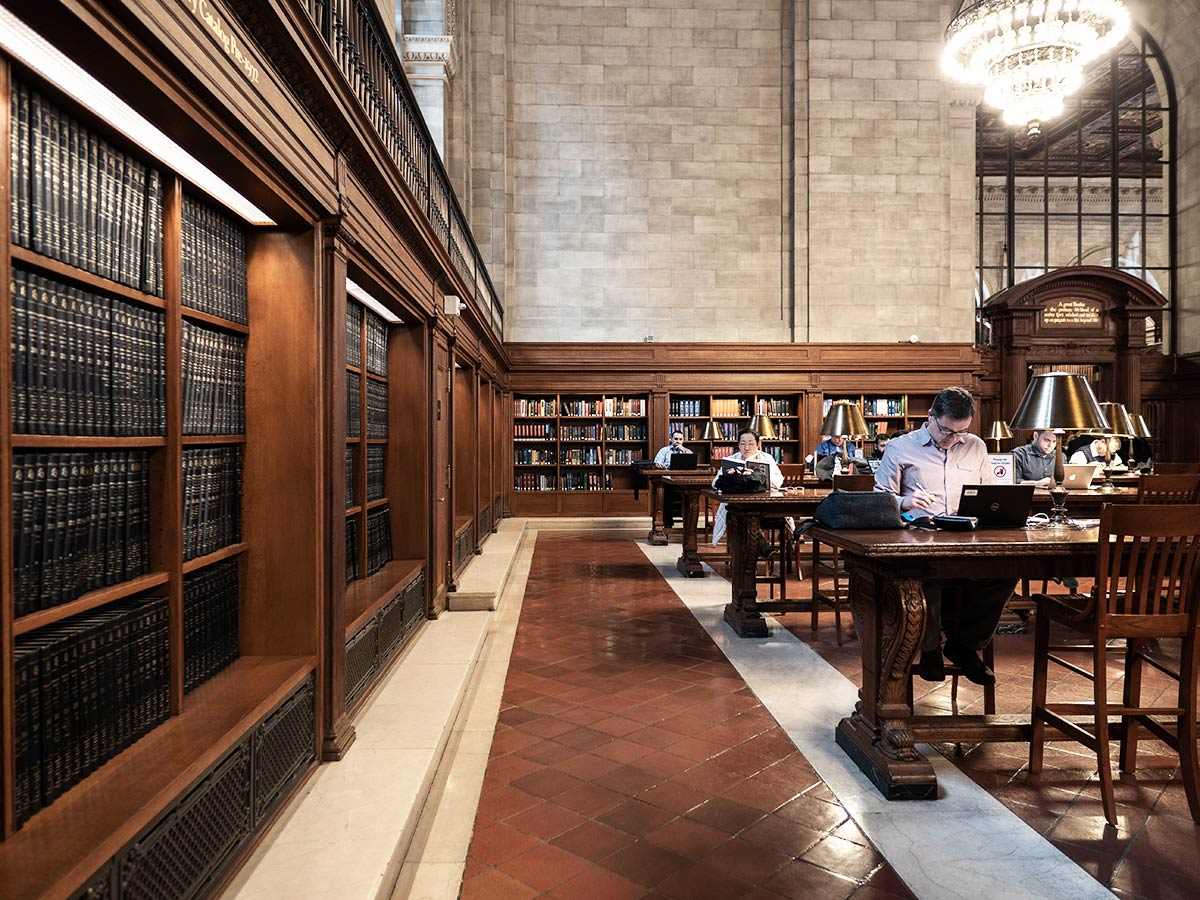 People studying at New York Public Library
